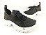 Tênis Chunky Sneaker Preto Trabalhado em Tecido Solado Tratorado 5 cm - Imagem 2