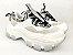 Tênis Chunky Sneaker Branco com Cinza Decorado Solado Branco 6 cm - Imagem 10