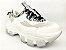 Tênis Chunky Sneaker Branco com Cinza Decorado Solado Branco 6 cm - Imagem 4