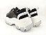 Tênis Chunky Sneaker Preto com Prata Solado Branco 6 cm - Imagem 8