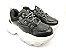 Tênis Chunky Sneaker Preto com Prata Solado Branco 6 cm - Imagem 4