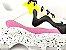 Tênis Chunky Sneaker Branco com Preto e Lilás Solado Decorado 6 cm - Imagem 3