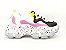 Tênis Chunky Sneaker Branco com Preto e Lilás Solado Decorado 6 cm - Imagem 6