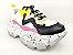 Tênis Chunky Sneaker Branco com Preto e Lilás Solado Decorado 6 cm - Imagem 2