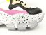 Tênis Chunky Sneaker Branco com Preto e Lilás Solado Decorado 6 cm - Imagem 5
