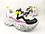 Tênis Chunky Sneaker Branco com Preto e Lilás Solado Decorado 6 cm - Imagem 1