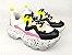 Tênis Chunky Sneaker Branco com Preto e Lilás Solado Decorado 6 cm - Imagem 8
