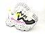 Tênis Chunky Sneaker Branco com Preto e Lilás Solado Decorado 6 cm - Imagem 9