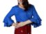 Blusa feminina com babados na manga – Azul - Imagem 3