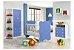 Quarto de Bebê Completo: Guarda-roupa + Cômoda 3 Gavetas + Berço Com Rodinhas- Branco/Azul - Imagem 1