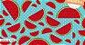 Tecido Círculo Tricoline Melancias Azuis- cor 1538 - 0,50cm X 1,46 Mts - Imagem 1