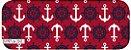 Tecido Círculo Navy Âncora Vermelha - 2241 - 0,50cmx1,50 Mts - Imagem 2