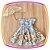 Vestido infantil Azul e Saia Estampada de Flores e Borboletas - Imagem 1