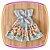 Vestido infantil Azul e Saia Estampada de Flores e Borboletas - Imagem 3