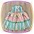 Vestido infantil Listrado e Saia Estampa de Castelo - Imagem 1