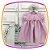 Vestido infantil Listrado Cinza e Rosa - Imagem 4