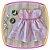 Vestido infantil Listrado Cinza e Rosa - Imagem 1
