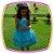 Vestido infantil Estampado e Barra com Rosas Azuis e Musgo - Imagem 1