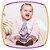 Vestido para bebê cinza em molecotton com estampa de flores e bolero de pelo rosa - Imagem 2