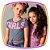 Blusa infantil boxy em meia malha Batonê Neon GIRLS na cor cinza - Imagem 2