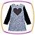 Vestido infantil em Fly Tech na cor cinza estampa coração - Imagem 1