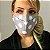 Máscara de Tecido 3d Cinza de Poá Branco - Modelo Tarja - Imagem 2