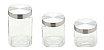 Conjunto 3 porta Mantimentos de vidro C/ Tampa de aço Quadrado. - Imagem 1