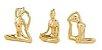 Kit Escultura Yoga Dourada em Porcelana - 3 peças - Imagem 1
