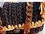 bolsa em fio de malha cor cinza petroleo e mostarda com corrente em elos de resina tartaruga  - Imagem 1