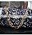 bolsa fio de malha azul marinho com branco ,corrente de resina - Imagem 1
