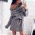 Blusa Longa Gola Alta com Cintinho Vestido de Tricôt Mini - Imagem 3