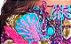 Vestido Tipo Túnica Floral Ombro a Ombro Bordado Turquesa - Imagem 6