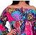 Vestido Tipo Túnica Floral Ombro a Ombro Bordado Turquesa - Imagem 5