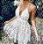 Vestido Feminino Rendado em Flor Decote em V  Profundo - Imagem 3