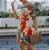 Vestido Feminino Ombro à Ombro Listrado Estampa Pássaro dos Trópicos - Imagem 1