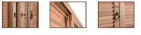 Janela Veneziana Pantográfica em Madeira Eucalipto Premium Vidro Quadriculado com Ferragens - Batente de 15 Cm - Sizenando - Imagem 2