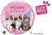 """Studio Pets – Feliz Aniversário com Gatinhos Tamanho e forma: 18"""" redondo - Imagem 1"""