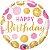 Balão Metalizado Pontos Rosa e Ouros de Aniversário - Imagem 1