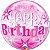 Balão Bubble Transparente Aniversário Rosa Explosão de Estrelas - Imagem 1