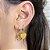 Argola Mini Coração Esmaltado Fé Mostarda Dourado - Imagem 1