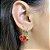 Argola Mini Coração Esmaltado Fé Vermelho Dourado - Imagem 1