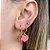 Argola Mini Coração Esmaltado Rosa Dourado - Imagem 1