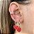 Argola Mini Coração Esmaltado Vermelho Prata - Imagem 1
