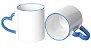 Caneca Cerâmica Branca Com Alça de Coração e Borda Azul 325ml Para Sublimação (331) - 36 Unidades - Imagem 1