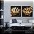 Conjunto com 02 quadros decorativos Folhas Douradas - Imagem 1