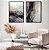 Conjunto com 02 quadros decorativos Abstrato Dourado 50x70cm (LxA) Moldura Preta - Imagem 1