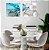 Conjunto com 02 quadros decorativos Abstract Blue 40x40cm (LxA) Moldura Branca - Imagem 1