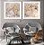Conjunto com 02 quadros decorativos Arte Abstrata Bege e Cinza - Imagem 2