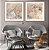 Conjunto com 02 quadros decorativos Arte Abstrata Bege e Cinza - Imagem 1