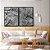 Conjunto com 02 quadros decorativos Galhos em Preto e Branco - Imagem 1